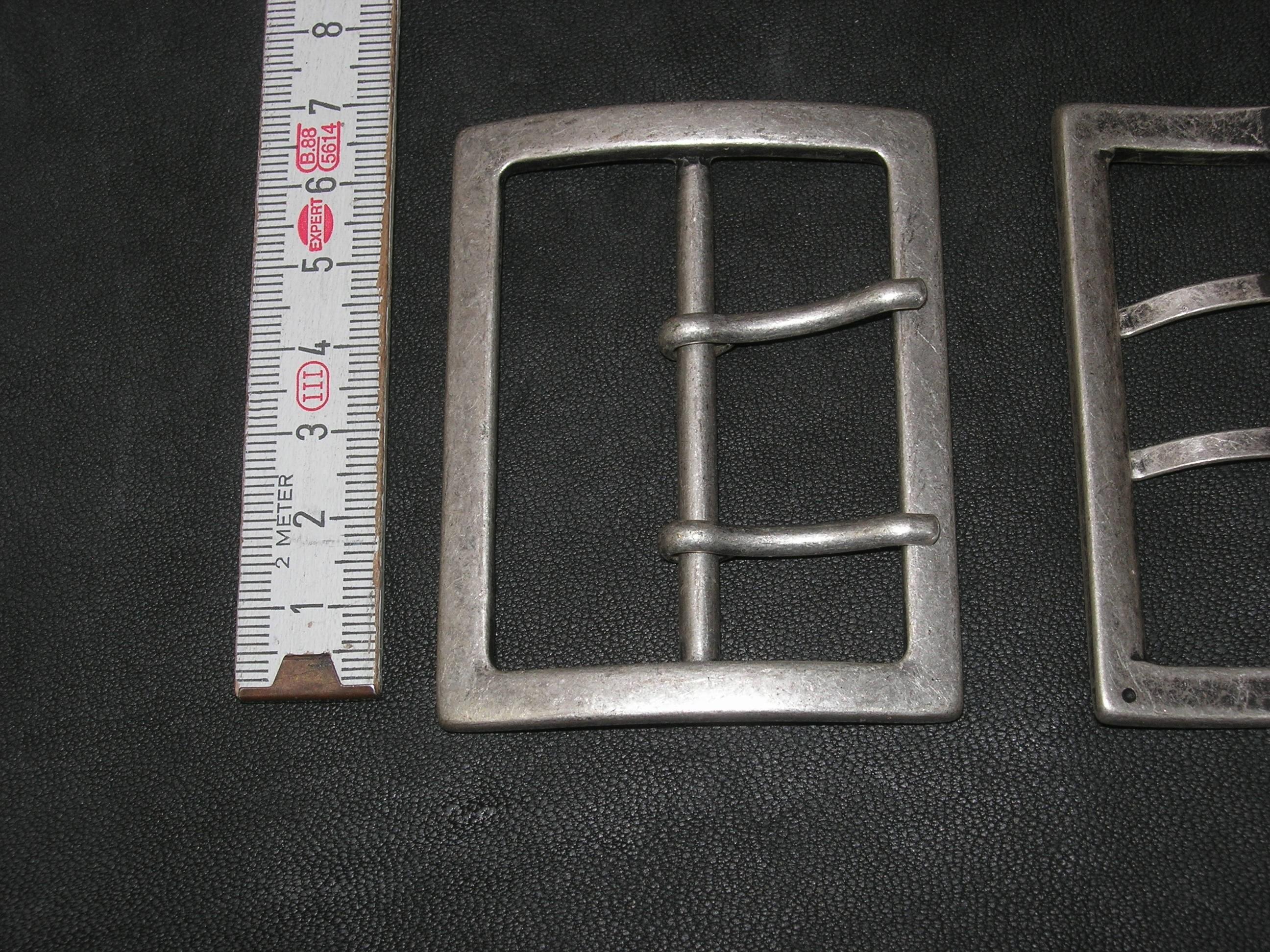 Doppelschnalle 6,0 cm altsilber Doppeldorn
