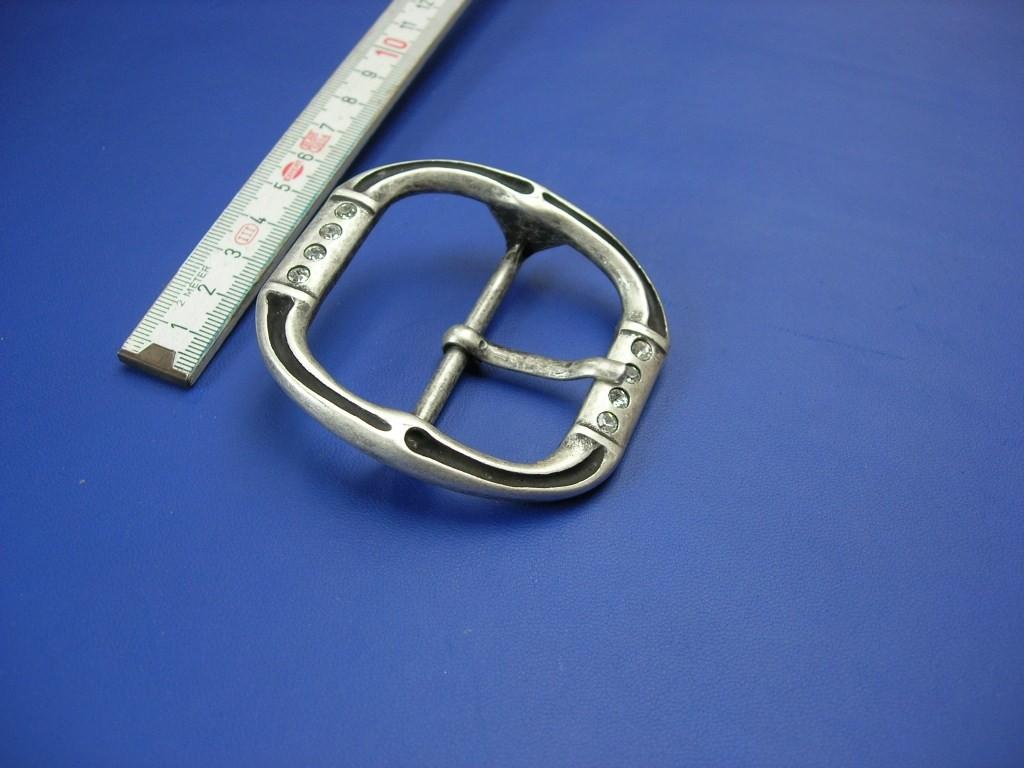 Doppelschnalle 5,0 cm altsilber mit Strass (E19K119)