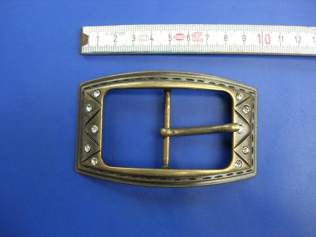 Doppelschnalle mit Strass 4,0 cm altmessing (E19K114)