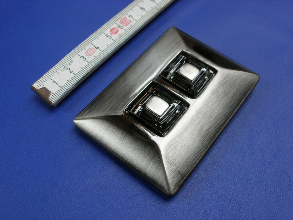 Koppelschnallen 4,0 cm satiniert schwarznickel mit Strass (E19K255)