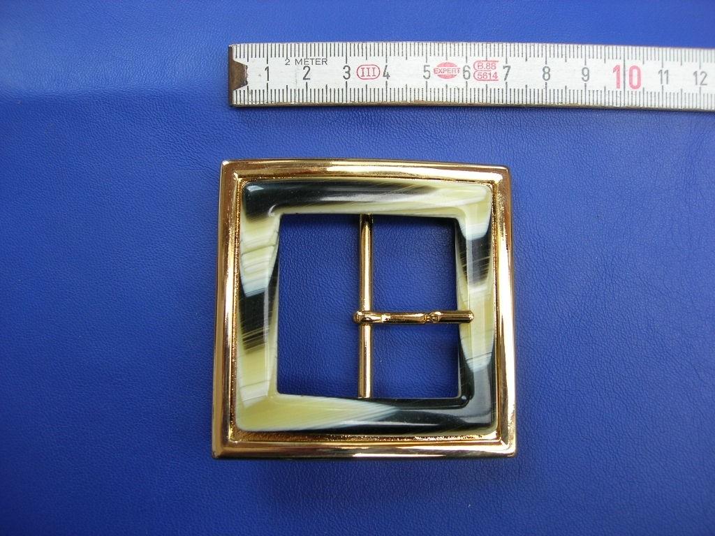Doppelschnalle 4,0 cm vermessingt mit Auflage (E19K276)