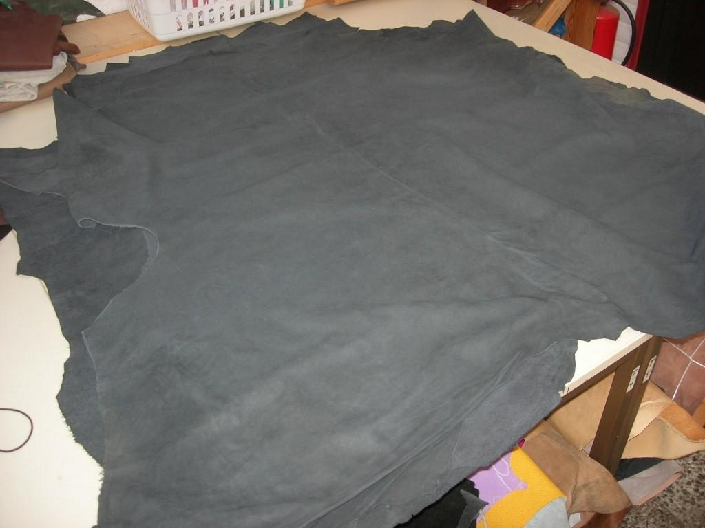 Wasserbüffelnubuk blau - grau (T1813KWB) 1,0 mm weich.